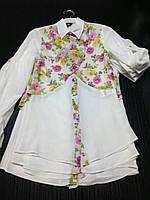 Подростковая шифоновая блуза с цветастой отделкой