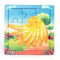 Деревянная игра рамка - пазл мини Стог сена Р098б Руди, 9 деталей