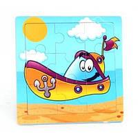 Деревянная игра рамка - пазл мини Лодка Р098в Руди, 9 деталей