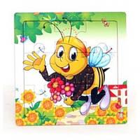Деревянная игра рамка - пазл мини Пчелка Р098к Руди, 9 деталей