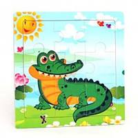 Деревянная игра рамка - пазл мини Крокодил Р098ш Руди, 9 деталей