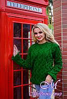 """Теплый женский свитер зеленого цвета в крупную вязку """"Лало"""" (ун. S-L) арт. Лало 6912"""