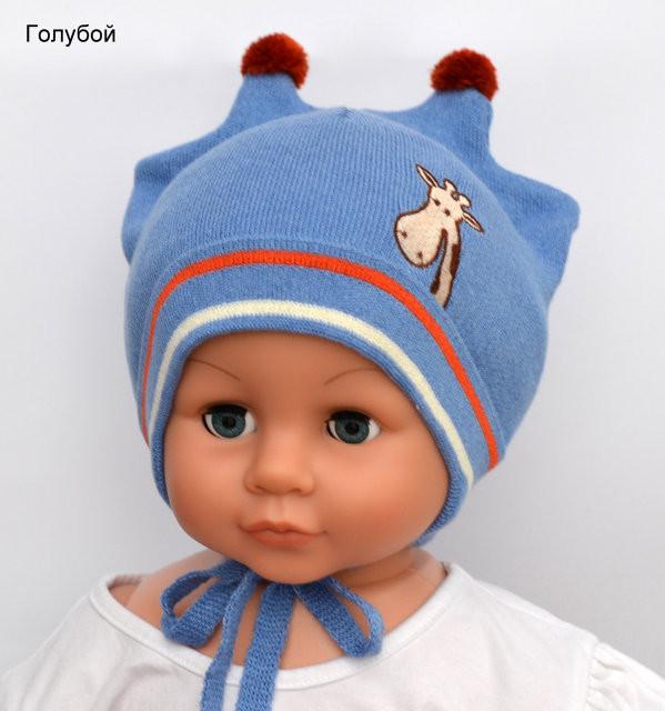 Детская шапка для малышей с милыми ушками жирафа