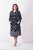 Велюровый халат больших размеров купон цветы, фото 1
