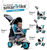Велосипед 3-х колесный  Deluxe 4 в 1 Smart Trike  с ручкой и корзиной  голубой