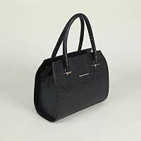 Синяя женская сумка М50-11 в тиснении крокодил каркасный саквояж деловой стиль