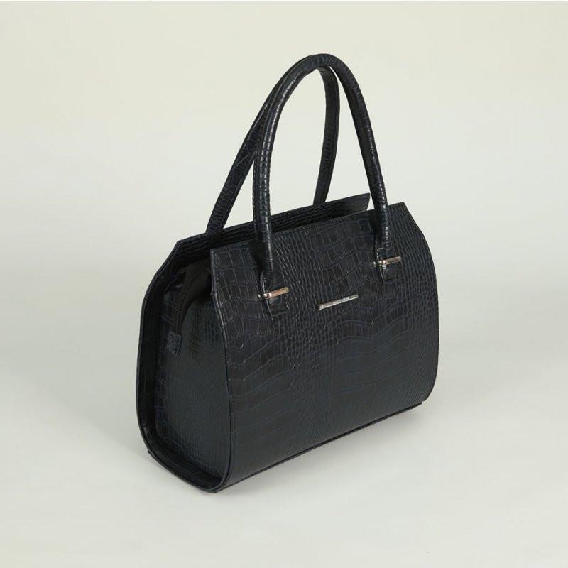 9cceb36b20b2 Синяя женская сумка М50-11 в тиснении крокодил каркасный саквояж деловой  стиль, фото 1