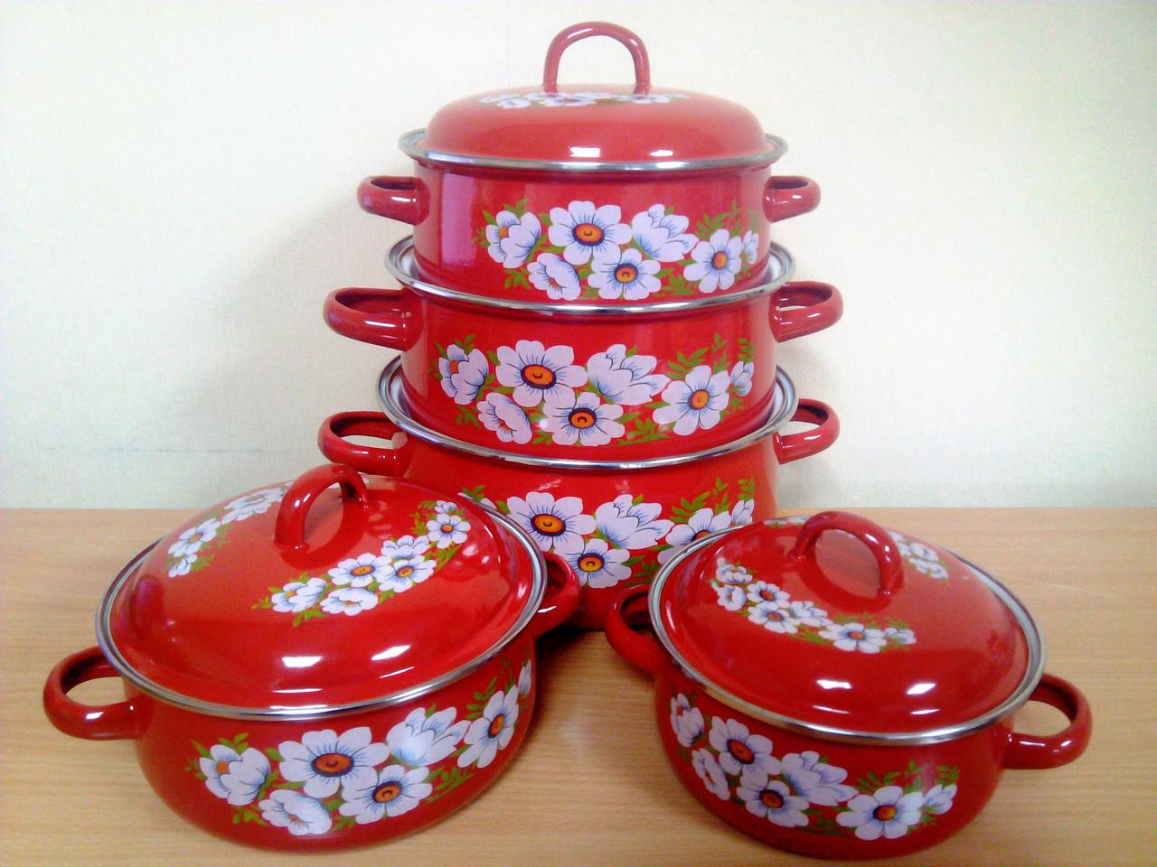 """Набор эмалированных кастрюль 5 предметов Premier - Интернет-магазин """"Посудный дом"""" в Одессе"""