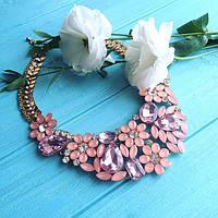 Ожерелье женское вечернее Сальвия розовое,крупная бижутерия