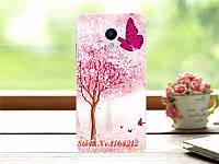 Чехол бампер силиконовый для Meizu M3s с картинкой розовое дерево