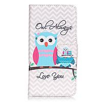 Чехол книжка TPU Wallet Printing для Motorola Moto X Play Owl Always Love You