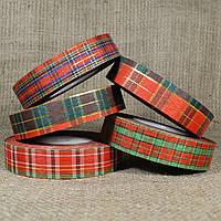 """Лента """"Шотландский тартан (Шотландка)"""" 2,5 см/50 ярдов с люрексом в ассортименте"""