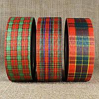 """Лента """"Шотландский тартан (Шотландка)"""" 4,0 см/50 ярдов с люрексом в ассортименте"""