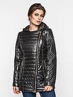 Удлиненная демисезонная женская куртка косуха на синтепоне 9097/2
