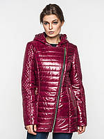 Удлиненная демисезонная женская куртка косуха на синтепоне Modniy Oazis бордовая 9097, фото 1