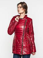Удлиненная демисезонная женская куртка косуха на синтепоне Modniy Oazis красная 9097/1, фото 1