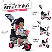 Велосипед 3-х колесный  Deluxe 4 в 1 Smart Trike  с ручкой и корзиной розовый