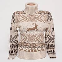 Теплый женский шерстяной свитер р.44-46 с орнаментом олени B1-2