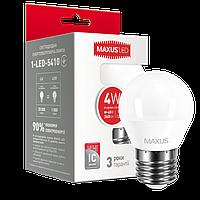 Лампа светодиодная шарик MAXUS G45 F 4W 4100K 220V E27 (1-LED-5410)