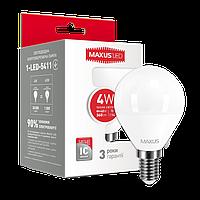 Лампа светодиодная шарик MAXUS G45 F 4W 3000K 220V E14 (1-LED-5411)