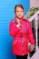 Куртка  демисезонная для девочек с сумочкой в комплекте, холофайбер (весна), размеры 32,34