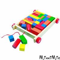 Тележка с цветными кубиками, 34 детали, Bino