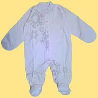 Человечек для новорожденной, белый с розовым рисунком