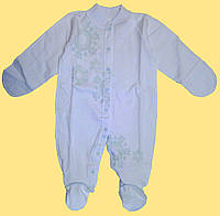 Человечек для новорожденного, белый с голубым рисунком