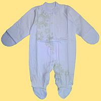 Человечек для новорожденной, белый с салатовым рисунком