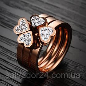 Тройное кольцо Клевер 18k позолота, 19 размер