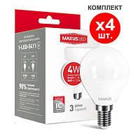 Светодиодная лампа 4-LED-5411 G45 E14 4W 3000K 220V (по 4 шт.) Maxus