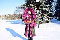 Парка с мехом чернобурки норвежской, цвет - малина