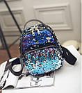 Рюкзак с пайетками хамелеон черный., фото 2