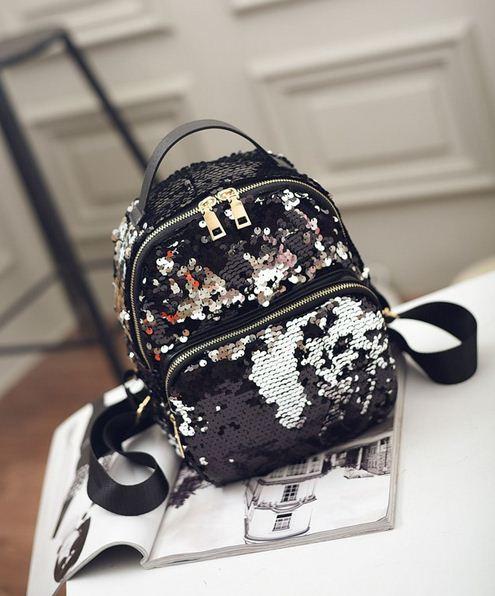 Рюкзак с пайетками хамелеон черный.