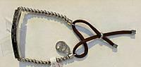 Браслет Michael Korse 0179 из ювелирной стали в серебристом цвете с кожаным шнурком