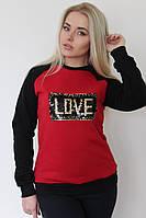 """Комбинированная женская толстовка """"LOVE"""" с пайетками (3 цвета)"""