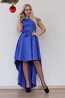 "Нарядное асимметричное платье жаккард ""Gorse"" с коротким рукавом (4 цвета)"