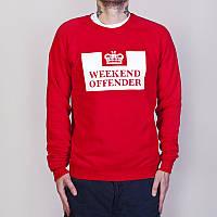 Свитшот Weekend offender красный с белым логотипом,унисекс (мужской,женский,детский)