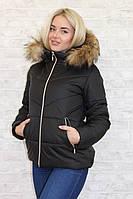 """Женская зимняя куртка """"Bantik"""" с капюшоном и карманами (большие размеры)"""