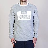 Свитшот Weekend offender серый с белым логотипом,унисекс (мужской,женский,детский)