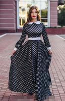 Платье макси  в горох с белым воротником