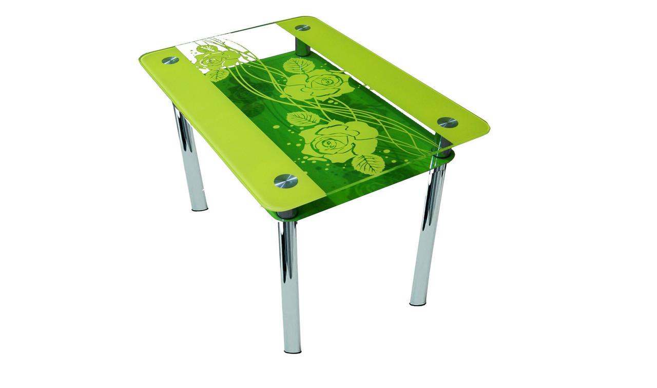 Стеклянный стол Роза переплет, фото 1