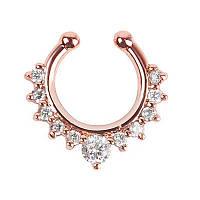 Серьга-обманка в нос с камнями Розовое золото