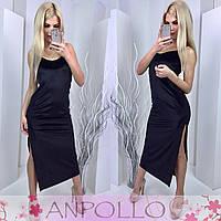 Платье с разрезом сбоку цвет черный 11854