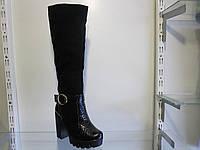 Сапоги женские зимние замшевые на каблуке