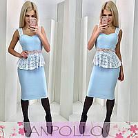 Платье с баской с гипюра голубое 11855