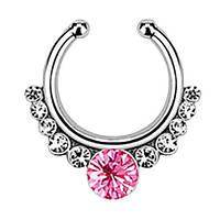 Серьга-обманка в нос Pink Stone, фото 1