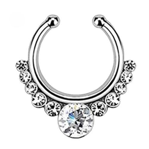 Серьга-обманка в нос White Stone серебро