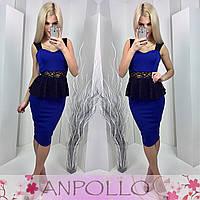 Платье с баской из гипюра синее 11858