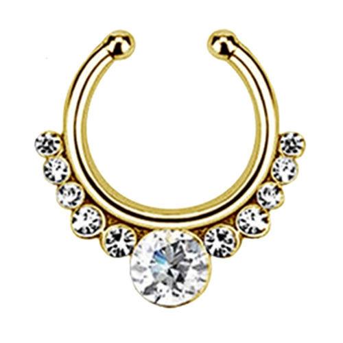 Серьга-обманка в нос White Stone желтое золото